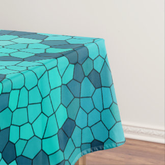 ターコイズのティール(緑がかった色)の青パターン テーブルクロス