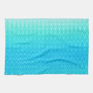 ターコイズのティール(緑がかった色)の青緑の抽象芸術パターン キッチンタオル