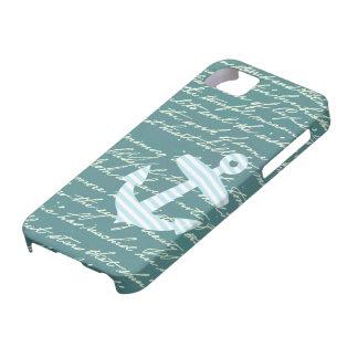 ターコイズのティール(緑がかった色)のiphone 5の場合の航海のないかり iPhone SE/5/5s ケース