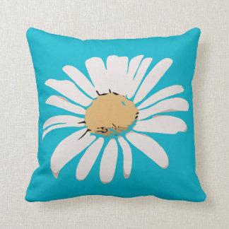 ターコイズのデイジーの花柄の枕 クッション