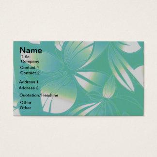 ターコイズのハワイの花柄の名刺 名刺