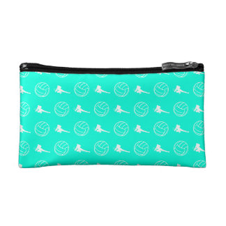 ターコイズのバレーボールパターンクラッチ コスメティックバッグ