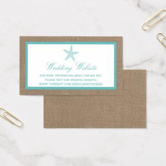 ターコイズのヒトデのバーラップのビーチ結婚式のコレクション 名刺