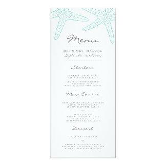 ターコイズのヒトデの結婚式夕食メニュー カード
