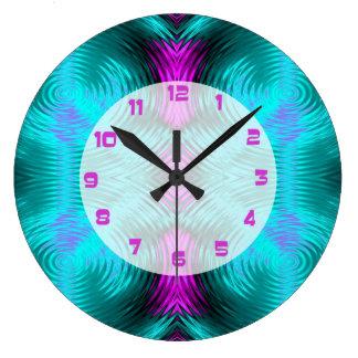 ターコイズのピンクの回状の抽象芸術 ラージ壁時計