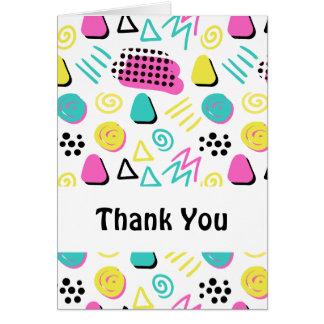ターコイズのピンクの黄色のアップビートの抽象芸術 カード