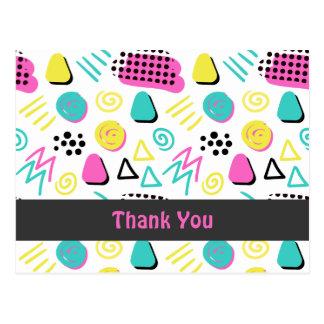 ターコイズのピンクの黄色のアップビートの抽象芸術 ポストカード