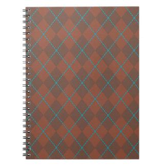 ターコイズのブラウンのアーガイルのノート ノートブック