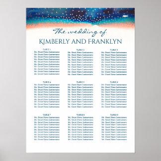 ターコイズのモモのBueの星明かりの結婚式の座席の図表 ポスター
