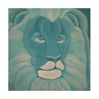 ターコイズのライオンの木製の壁パネル ウッドウォールアート