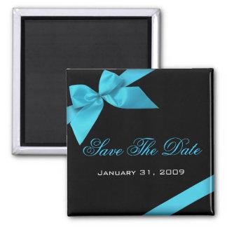 ターコイズのリボンの結婚式招待状の保存日付 冷蔵庫マグネット