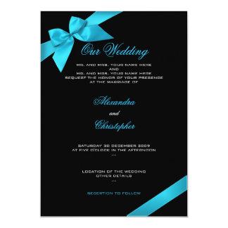 ターコイズのリボンの結婚式招待状の発表2 カード