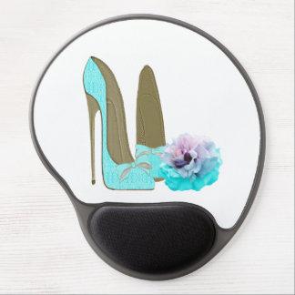 ターコイズのレースの小剣の靴およびばら色のゲルのマウスパッド ジェルマウスパッド