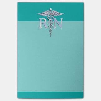 ターコイズの公認看護師RNの銀製のケリュケイオン ポストイット