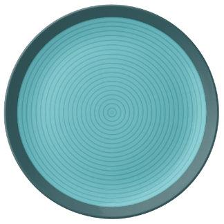 ターコイズの同心の磁器皿 磁器プレート