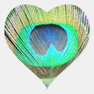 ターコイズの孔雀の羽 ハート型シール