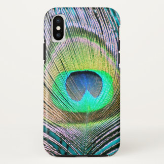 ターコイズの孔雀の羽 iPhone X ケース