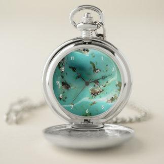 ターコイズの宝石用原石のイメージのポケット銀の腕時計 ポケットウォッチ