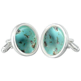 ターコイズの宝石用原石のイメージの円形のカフスボタン カフボタン