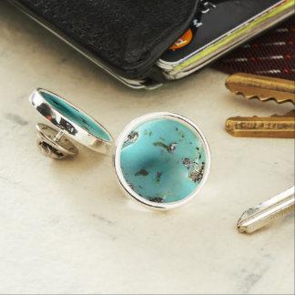 ターコイズの宝石用原石のイメージの円形のラペルピン ラペルピン
