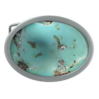 ターコイズの宝石用原石のイメージの楕円形のベルトの留め金 卵形バックル