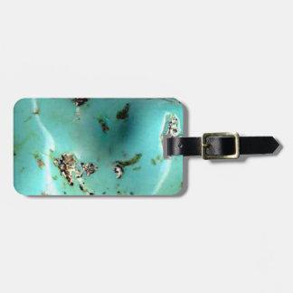 ターコイズの宝石用原石のイメージの荷物のラベルおよび革紐 ラゲッジタグ