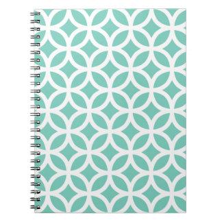 ターコイズの幾何学的なメモ帳 ノートブック