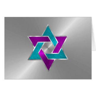 ターコイズの星のデイヴィッドの銀製の紫色のサンキューカード カード