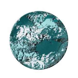 ターコイズの月の装飾的なプレート 磁器プレート
