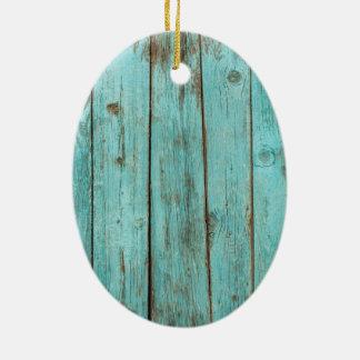 ターコイズの木製のティール(緑がかった色)の納屋の木によって風化させるビーチ セラミックオーナメント