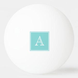 ターコイズの正方形のモノグラムのピンポン球 卓球ボール