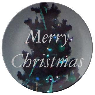 ターコイズの水の灰色のクリスマスは休日をめっきします 磁器プレート
