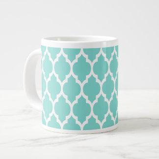 ターコイズの水の白いモロッコのクローバーパターン#4 ジャンボコーヒーマグカップ
