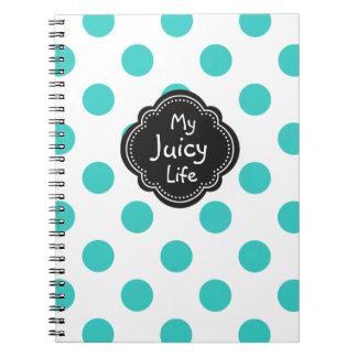 ターコイズの水玉模様パターン水分が多い生命 ノートブック