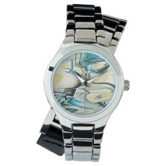 ターコイズの波の時間部分 腕時計