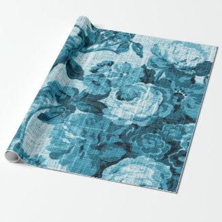 ターコイズの海のオーシャンブルーの花のToileの生地No.4 ラッピングペーパー