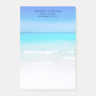 ターコイズの海の結婚式の熱帯ビーチ ポストイット