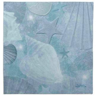 ターコイズの海の貝のカスタムな綿のナプキン ナプキンクロス