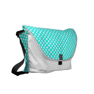 ターコイズの白い水玉模様-メッセンジャーバッグ クーリエバッグ