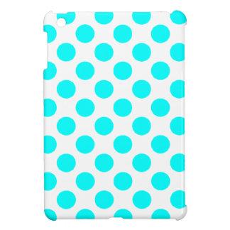 ターコイズの白い水玉模様- iPad Miniケース