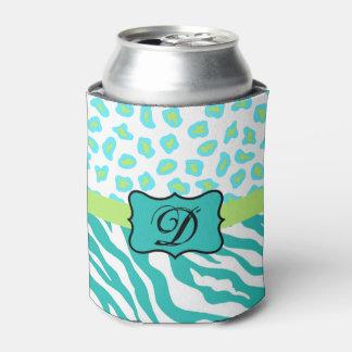 ターコイズの白い緑のシマウマのヒョウの皮のモノグラム 缶クーラー