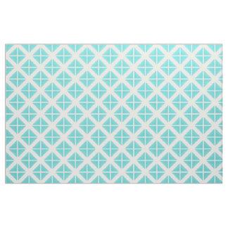 ターコイズの白く粋な三角形パターン生地 ファブリック