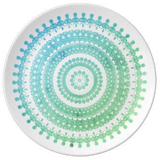 ターコイズの真新しい緑のBohoの種族の民俗ジプシーのヒッピー 磁器プレート