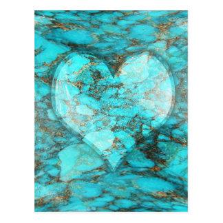 ターコイズの石のハート ポストカード
