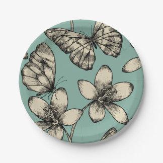 ターコイズの素朴なヴィンテージの蝶そして花 ペーパープレート