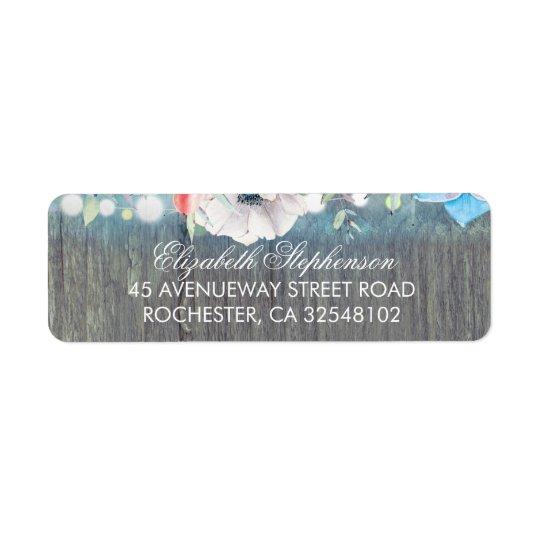 ターコイズの素朴な花の納屋の結婚式 返信用宛名ラベル