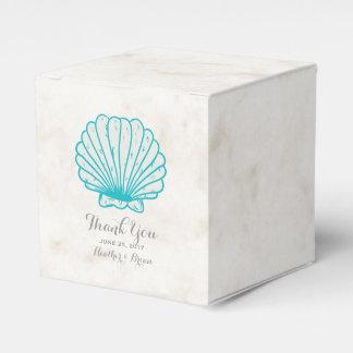 ターコイズの素朴な貝殻の結婚式 フェイバーボックス