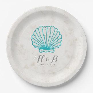 ターコイズの素朴な貝殻の結婚式 ペーパープレート