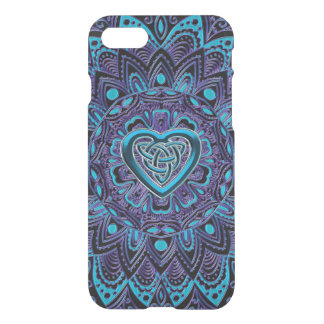 ターコイズの紫色のケルト族のハートの曼荼羅のiPhoneの箱 iPhone 8/7 ケース