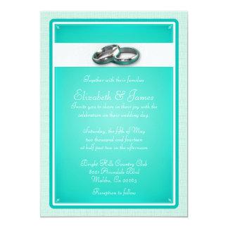 ターコイズの結婚式招待状 12.7 X 17.8 インビテーションカード